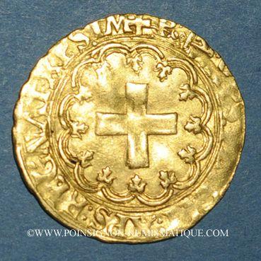 Coins François I (1515-1547). Ecu d'or à la croisette, 1er type. Bayonne (L et ancre)