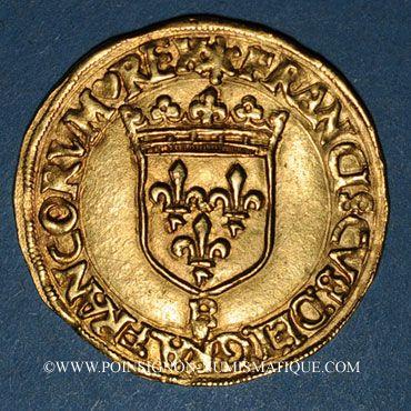 Coins François I (1515-1547). Ecu d'or à la croisette, 1er type. Rouen