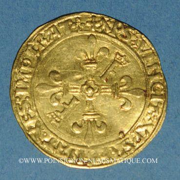 Coins François I (1515-1547). Ecu d'or au soleil, 2 type, 3e émission. Lyon (point 12e)