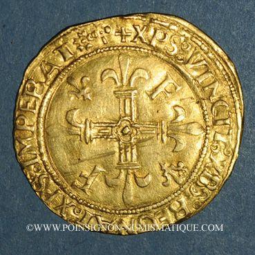 Coins François I (1515-1547). Ecu d'or au soleil, 5e type, 3e émission. Lyon (point 12e)