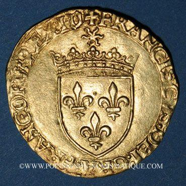 Coins François I (1515-1547). Ecu d'or au soleil, 5e type, 3e émission, Villefranche-de-Rouergue