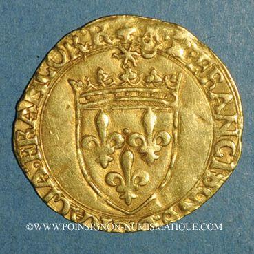 Coins François I (1515-1547). Ecu d'or au soleil, 5e type. Bordeaux (nef)