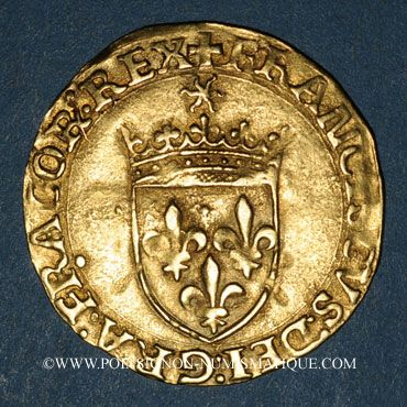 Coins François I (1515-1547). Ecu d'or au soleil, 5e type. Paris (point 18e)