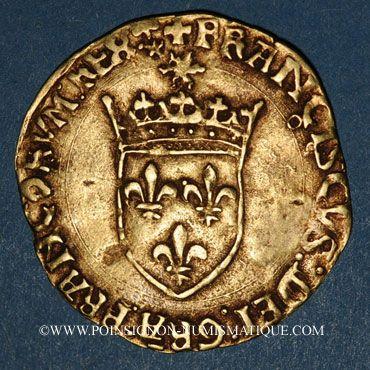 Coins François I (1515-1547). Ecu d'or au soleil, 5e type. Toulouse (point 5e)