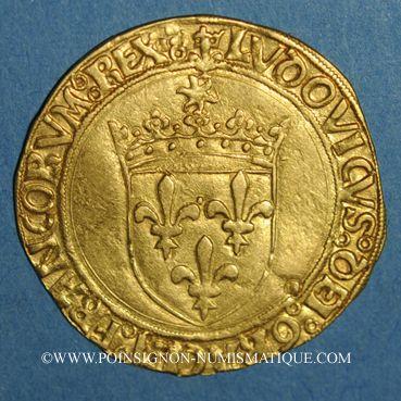 Coins Louis XII (1498-1514). Ecu d'or au soleil (25 avril 1498). Lyon, point 12e