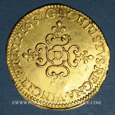 Coins Louis XIII (1610-1643). Ecu d'or au soleil, 1er type, 1637 D. Lyon