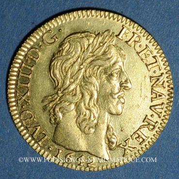 Coins Louis XIII (1610-1643). Louis d'or 1642A, type avec mèche mi-longue et baies