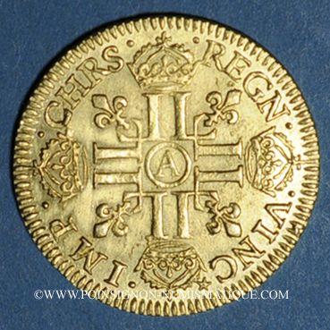 Coins Louis XIII (1610-1643). Louis d'or 1642A. Type avec mèche mi-longue et baies