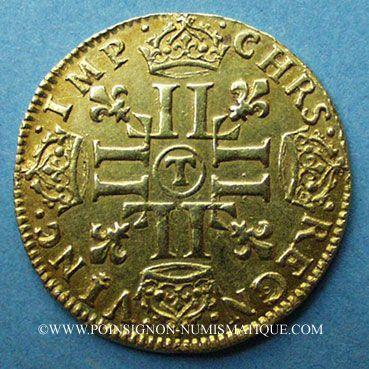 Coins Louis XIV (1643-1715). Louis d'or à la mèche longue 1654T. Nantes. 653 ex !