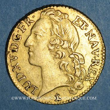 Coins Louis XV (1715-1774). Louis d'or au bandeau 1764 N. Montpellier
