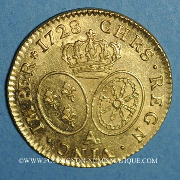 Coins Louis XV (1715-1774). Louis d'or aux lunettes 1728 A. 2e semestre