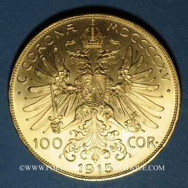 Coins Autriche. François Joseph (1848-1916). 100 couronnes 1915. Refrappe. (PTL 900‰. 33,87 g)