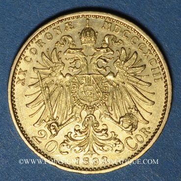 Coins Autriche. François Joseph (1848-1916). 20 couronnes 1893. (PTL 900/1000. 6,78 g)