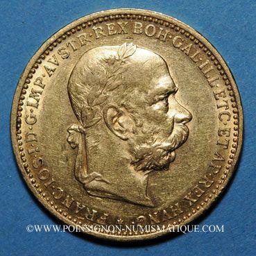 Coins Autriche. François Joseph (1848-1916). 20 couronnes 1896. (PTL 900/1000. 6,78 g)