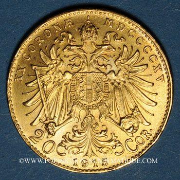 Coins Autriche. François Joseph (1848-1916). 20 couronnes 1915. Refrappe. (PTL 900‰. 6,78 g)