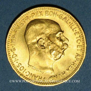 Coins Autriche. François Joseph (1848-1916). 20 couronnes 1915. Refrappe. (PTL 900/1000. 6,78 g)