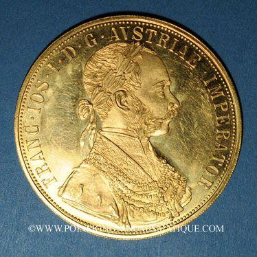 Coins Autriche. François Joseph (1848-1916). 4 ducats 1915. Refrappe. (PTL 986‰. 13,96 g)