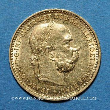 Coins Autriche. François Joseph I (1848-1916). 10 couronnes 1896. (PTL 900/1000. 3,39 g)