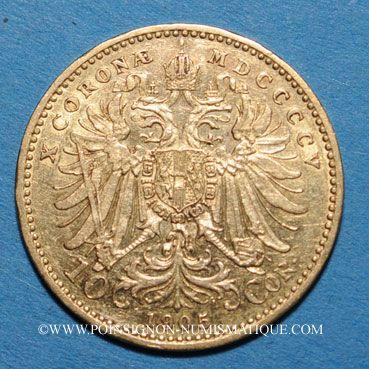 Coins Autriche. François Joseph I (1848-1916). 10 couronnes 1905. (PTL 900/1000. 3,39 g)