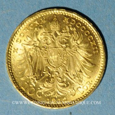 Coins Autriche. François Joseph I (1848-1916). 10 couronnes 1912. Refrappe. (PTL 900‰. 3,39 g)