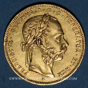 Coins Autriche. François Joseph I (1848-1916). 8 florins / 20 francs 1870. (PTL 900/1000. 6,45 g)