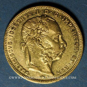 Coins Autriche. François Joseph I (1848-1916). 8 florins / 20 francs 1878. (PTL 900/1000. 6,45 g)