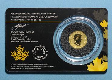 Coins Canada. Elisabeth II (1952- /). 20 dollars 2015. Loup hurlant. (PTL 999,99‰. 3,11 g)