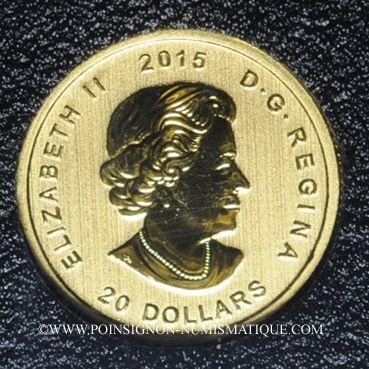 Coins Canada. Elisabeth II (1952- /). 20 dollars 2015. Loup hurlant. (PTL 999,99/1000. 3,11 g)