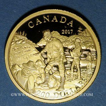 Coins Canada. Elisabeth II (1952- /). 200 dollars 2017. Alexandre Mackenzie. (PTL 999,9‰. 15,43 g)