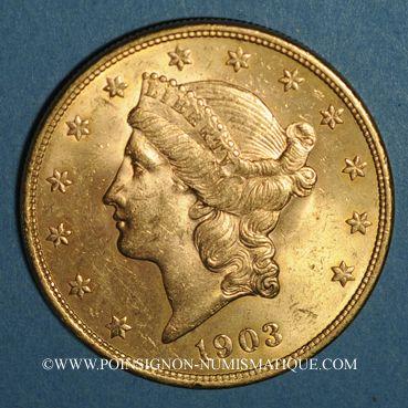 Coins Etats Unis. 20 dollars 1903. (PTL 900‰. 33,43 g)