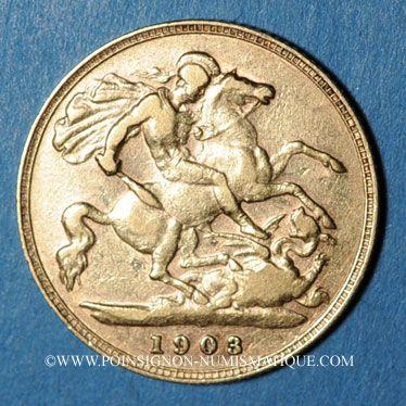Coins Grande Bretagne. Edouard VII (1901-1910). 1/2 souverain 1903. (PTL 917/1000. 3,99 g)