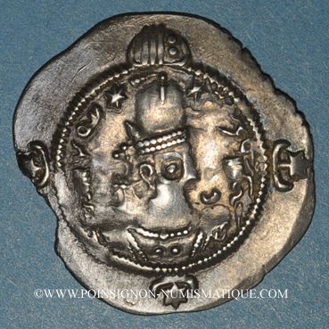 Coins Royaume sassanide. Hormazd IV (579-590). Drachme, type I/1, an 11. AW = Ahvaz