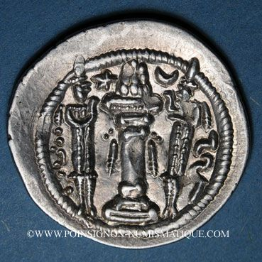 Coins Royaume sassanide. Péroz I (457-484). Drachme non datée, type III b / 1c. WH = Veh Antiok Shapur