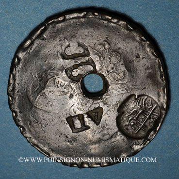 Coins Balkans. Ottomans. Plomarion (Lesbos). Bronze, 40 Para 1255H contremarqué et  daté 1308H sous Abdoul