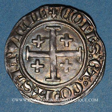 Coins Comté de Provence. Louis I et Jeanne (1349-1362). Demi-gros ou uthène. Tarascon