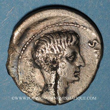 Coins Auguste (27 av. - 14 ap. J-C). Denier frappé par L. Lentulus. Rome, 12 av. J-C.