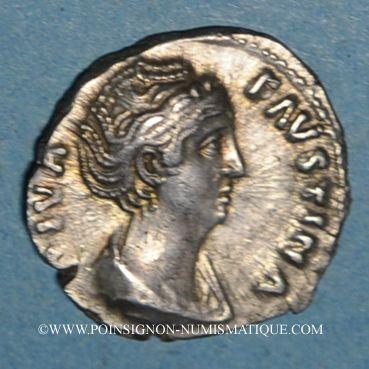 Coins Faustine mère, épouse d'Antonin le Pieux († 141). Denier. Rome, après 147. R/: Paon