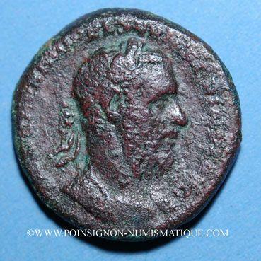 Coins Macrin (217-218). As. Rome, 217. R/: Macrin dans un quadrige