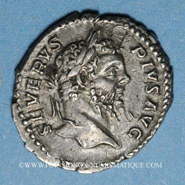 Coins Septime Sévère (193-211). Denier. Rome, 206. R/: Génie nu debout à g.