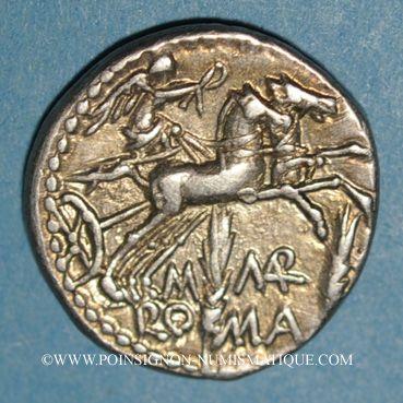 Coins République romaine. M. Marcius Mn. f. (vers 134 av. J-C). Denier