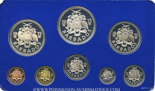 Coins Barbade. Série FDC 1975 FM