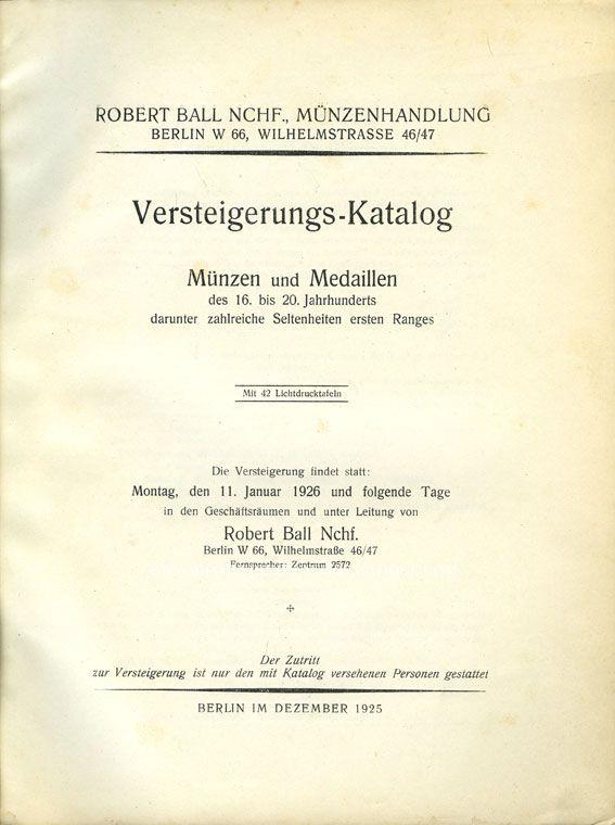 Livres d'occasion Ball R., vente aux enchères du 11.01.1926