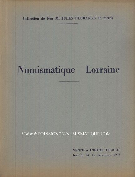 Livres d'occasion Ciani, vente aux enchères 13-15.12.1937. Collection de Feu M. Jules Florange de Sierck