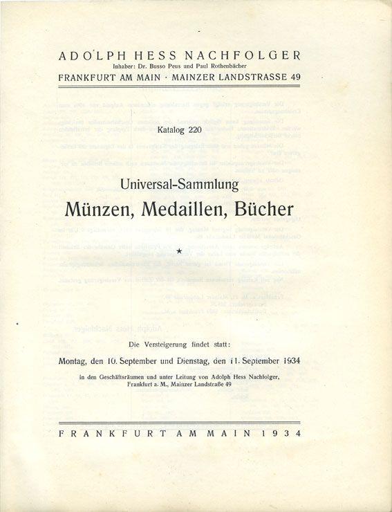 Livres d'occasion Hess A., Francfort. Vente aux enchères n° 220, 11.09.1934