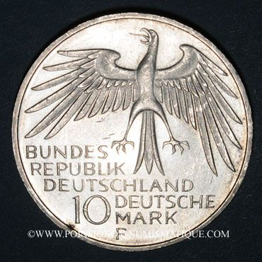 Monnaies Allemagne. 10 mark 1972 F. Jeux olympiques. Stade