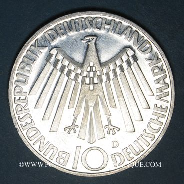 Monnaies Allemagne. 10 mark 1972F. Jeux olympiques. Spirale,  in Deutschland