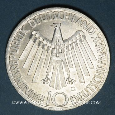 Monnaies Allemagne. 10 mark 1972G. Jeux olympiques. Spirale, in München