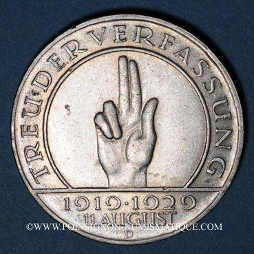 Monnaies Allemagne, République de Weimar, 3 reichsmark 1929D Verfassung