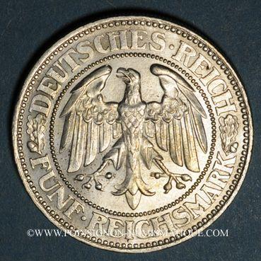 Monnaies Allemagne. République de Weimar. 5 reichsmark 1927A. Tilleul