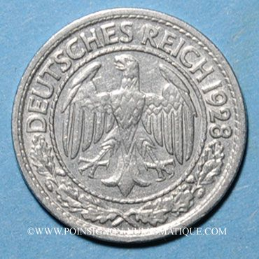 Monnaies Allemagne, République de Weimar, 50 reichspfennig 1928A